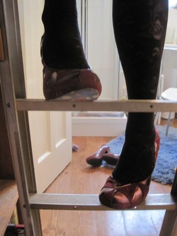 heels on ladder