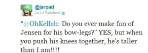 Jarpad twitter Jensen's bowlegs
