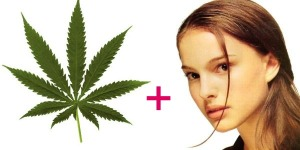 marijuana leaf + Natalie Portman