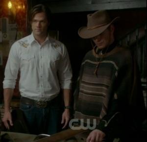 Jensen Ackles and Jared Padalecki dressed as cowboys for Supernatural episode 'Frontierland'