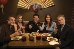How I Met Your Mother cast with food and drink