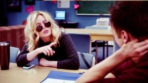 hungover Britta wearing sunglasses, Community episode 'Communication Studies'