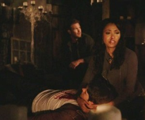 Bonnie trying to save Jeremy