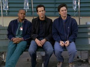JD, Turk and Spence from Scrubs all hooked up to IV drips