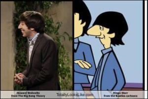 Simon Helberg (Howard Wolowitz from the Big Bang Theory) totally looks like Ringo from the Beatles cartoon