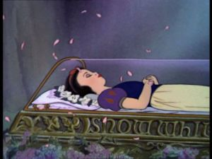 Snow White in glass coffin, Disney film