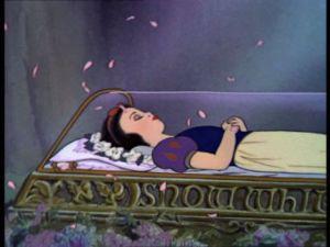 Snow White in glass coffin, Disney film