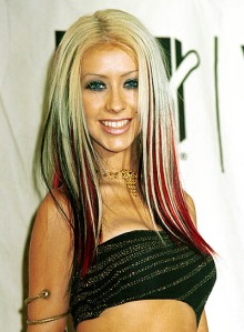 Christina Aguilera with pink streaks in hair