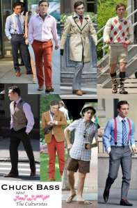 various Chuck Bass outfits from Gossip Girl