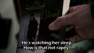 He's watching her sleep. How is that not rapey?