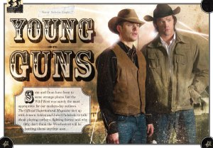 Jensen Acjles and Jared Padalecki dressed as cowboys