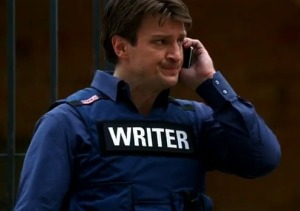 Castle wearing Writer vest