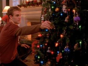 Dawson sad by tree from Dawson's Creek Christmas episode